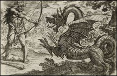 """1608 etching of Hercules confronting a dragon by (or after) Antonio Tempesta , """"the first professional printmaker to introduce original etchings of landscapes, battles, animals, hunting scenes and grotesques to the Roman public""""."""