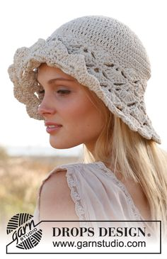 "Crochet DROPS hat with fan pattern in ""Muskat"". ~ DROPS Design"