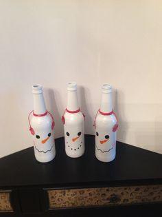 Snowman Christmas Wine Bottle