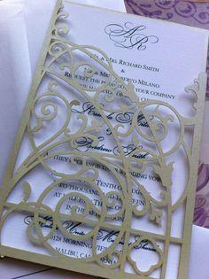 Laser Cut Wedding Invitation Monogram Mesh Gate by CelineDesigns