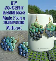 You'll be surprised to learn what these earrings are made from!  The best part?  They cost mere pennies to make!  Learn how at Four Front Doors