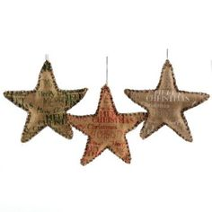 Screen Printed Burlap Star Ornaments | Kirkland's