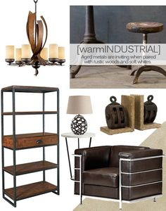 The Warm Industrial style blends the urban edge of utilitarian design with the warmth of aged woods and worn textures. The cold steel of the industrial look is replaced with aged iron and metals with rich patinas, and is accented by weathered woods and soft white surfaces.