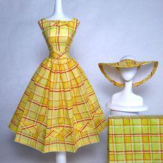 Handmade Vintage Barbie/Silkstone Fashion by Roxy-Plaid Sun Dress & Hat -5pcs | eBay