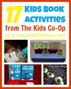 What's your favorite kids' book to read to your kids?  Find 17 creative kids' book activities plus hundreds more kids crafts and learning activities from The Kids Co-Op at B-InspiredMama.com!