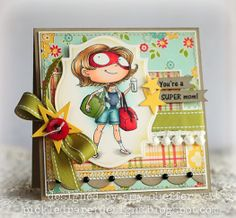 This card gave me an idea of pairing my Ms. On the Go stamp with the Superhero papers.
