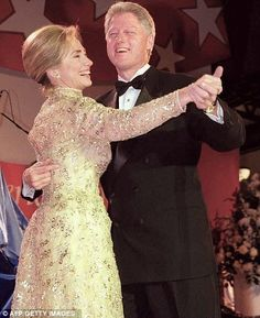 First Lady Hillary and President Bill Clinton at their second Inaugural Ball, 1997