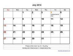 Printable Calendar 2014 July Templates