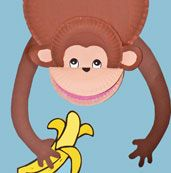 Paper Plate Monkey Craft - love how the monkey's mouth is open!