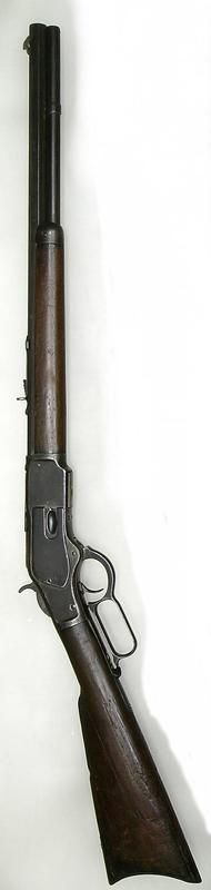 "Winchester 1873 - lever action rifle, a significant improvement over existing lever guns, but marketing was key. Chambered for the same cartridges that fit the popular 1873 Peacemaker revolver, frontier ""logistics"" were solved. It was a favorite with Texas Rangers, and became known as ""The Gun That Won The West""."