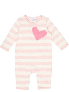 £32.25 Bonnie baby London Cotton Babysuit onesie with knitted applique heart