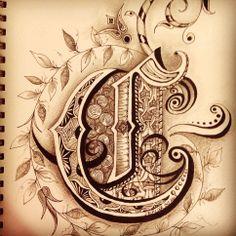 Zentangle initial 'C' - J D Bercier Oct 2013