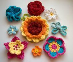free 10 flowers crochet patterns