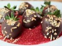 Treat your valentine with these chocolate dipped strawberries. #TheChew