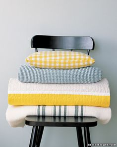 Yellow and gray gingham and strips