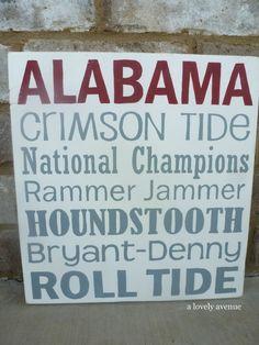 University of Alabama Crimson Tide Sign.