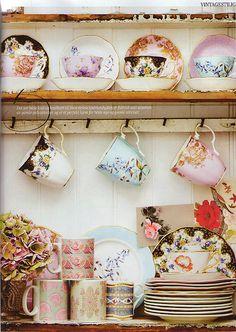 tea time, tea sets, shabby chic, teas, vintage china, lake, kitchen, vintage tea, teacup
