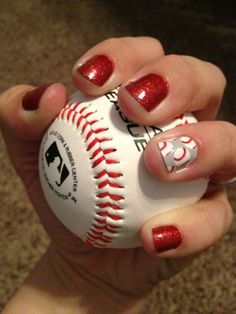 baseball mom, basebal season, nail art ideas, spring training, nail arts, red nails, jamberri nail, baseball season, fan