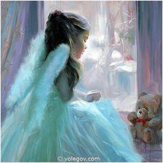 """Christmas Angel"" (2008), By Vladimir Volegov (b. 1957, Russia), Oil on Canvas, Private Collection. Spain.  Artist's Website: http://www.volegov.com/"