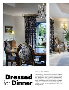 ARABELLA  Winter 2013 Design Feature:DRESSED FOR DINNER written by Lorie Lee Steiner