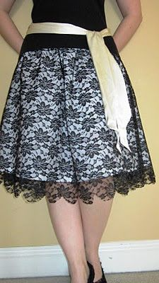 1 1/2 yards of lightweight, white cotton (more or less depending on your size), 1 1/2 yards of black lace, few yards of 2 inch elastic, and an hour of your time.  No elastic casing involved.