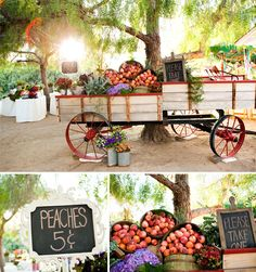 fruits fruit bars, farmer market, wedding favors, farmers market, rustic weddings, rustic wedding decorations, colorful weddings, peaches, old wagons