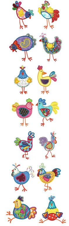 I love these Chickens--I've stitched them out lots! applique designs, funki chicken, applique patterns, paint, funky applique design, mug rugs, chicken craft ideas, applique ideas, chicken applique