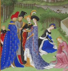 Full-bodied houppelandes with voluminous sleeves worn with elaborate headdresses are characteristic of the earlier 15th century. Detail from Très Riches Heures du Duc de Berry.