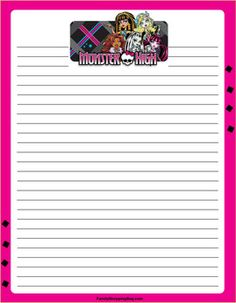 MH Stationery, Monster High, Stationery - Free Printable Ideas from Family Shoppingbag.com