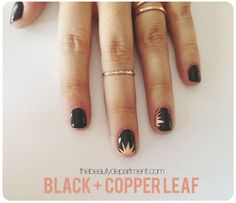 Today's nail art is pretty much the coolest. Copper leaf starburst? Yes.