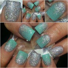 mint green, color combos, tiffany blue, robin egg blue, glitter nails