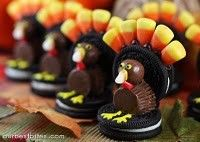 turkeys! oreos, reeses, milk dud head, frosting legs & eyes & candy corn feathers!!