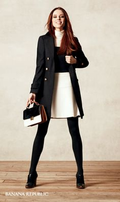 Black & White Trend Tip: white pumps are fresh, but black works just as well. Stick to metallics for jewelry and details such as buttons, buckles and zippers.