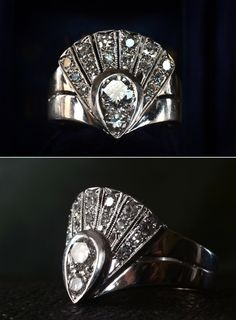 1940s Late Deco Diamond Fan Cocktail RingApprox. 0.70ctw Brilliant & Single Cut Diamonds, 14K White Gold, $2050  Back from a weekend of buying.  This might be my favorite new thing.  Really one of the more spectacular late Deco rings I've seen.