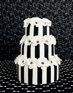 Non-traditional black and white striped wedding cake