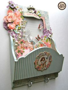 A beautiful Sweet Sentiments altered hook rack from Maria! Great for mail, coupons, and more! #graphic45