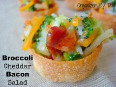 Broccoli cheddar bacon mini salads. Perfect for #Football parties or as a side dish to any meal!