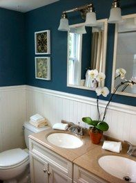 Doing this in my totally outdated bathroom! I know Eric can hardly wait... Designed for HGTV's Real Estate Intervention. We transformed this bathroom by installing wainscoting right over outdated tile, adding a new vanity, hardware, and warm blue paint.