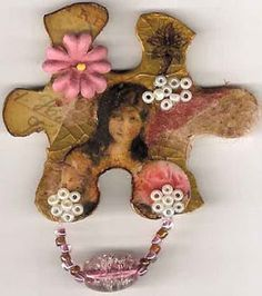 altered puzzle piece jewelry #craft #diy
