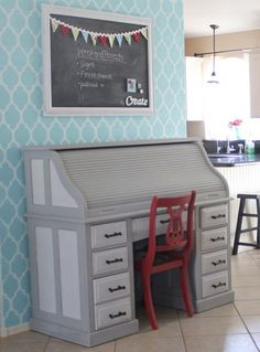DIY vintage desk and stenciled wall