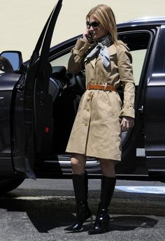 Going for a ride in the country..  , Trina Turk in Trenches, Dolce & Gabbana in Belts, Hermes in Scarves / Echarpes, Robert Clergerie in Boots, Tom Ford in Glasses / Sunglasses, Cartier in Jewelry
