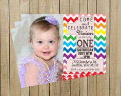 Rainbow One First Birthday Invitation Printable by PinkPoppyDesign, $12.00