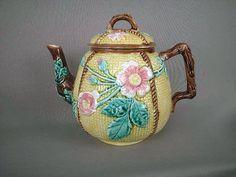 majolica teapot, tea time, tea pot, color, spot