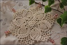 Crochet Doily with Beads - This would be very pretty to cover a jar of water.