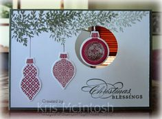 Could do with 1, 2 or 3 spellbinder ornament dies. depending on what you want and the size of the card dangl ornament, christmas cards, christma card, craft, 033, ornament christma, christma bless, christmas ornaments, card tutorials