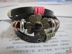 Easter gift Adjustable Leather Bracelet /Buckle by sevenvsxiao, $8.00