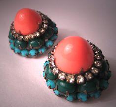 Vintage Kenneth J Lane Earrings Coral Turquoise 60s KJL on Etsy