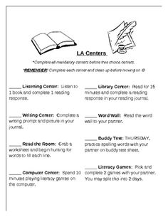 Language Arts Center Checklist...keep students busy while you are working with guided reading groups!