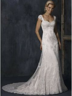 wedding dresses with straps or sleeves | Style Sleeves Sweetheart Lace Satin Beading Chapel Train Wedding Dress ...