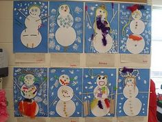 """Snowmen made after reading the book Snowballs by Lois Ehlert.  The teacher made """"snow paint"""" by mixing elmer's glue with shaving cream.."""